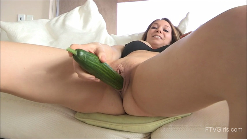 Adrianna getting fucked with Cucumber